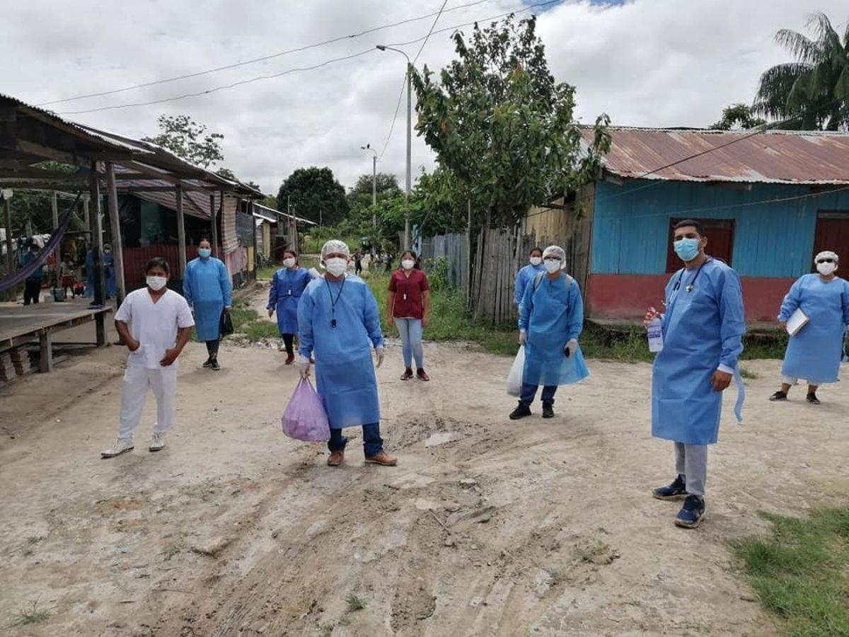 A fines de Enero, personal de salud se movilizó hacia Caballococha para identificar casos tempranod de Covid-19. ANDINA