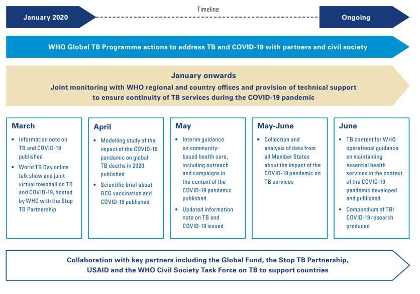 Medidas adoptadas por el Programa Mundial de la OMS contra la Tuberculosis en el contexto de la pandemia de COVID-19 desde enero de 2020.